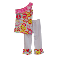 Special Design Girls Summer Clothes Inclined Shoulder Floral Pattern Ruffle Pants Breathable Cotton Baby Clothing S040