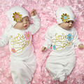 Lovely Little Sister Baby Girl Coming Home Outfit Baby Gown Hat 2pcs Outfits Set Robes O-neck