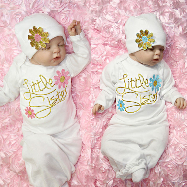 Lovely Little Sister Baby Girl Coming Home Outfit Baby Gown Hat 2pcs ...