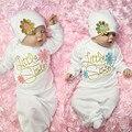 Precioso Hermanita Bebé A Casa Del Equipo Del Bebé Del Sombrero Vestido 2 unids Trajes Túnicas Set O-cuello