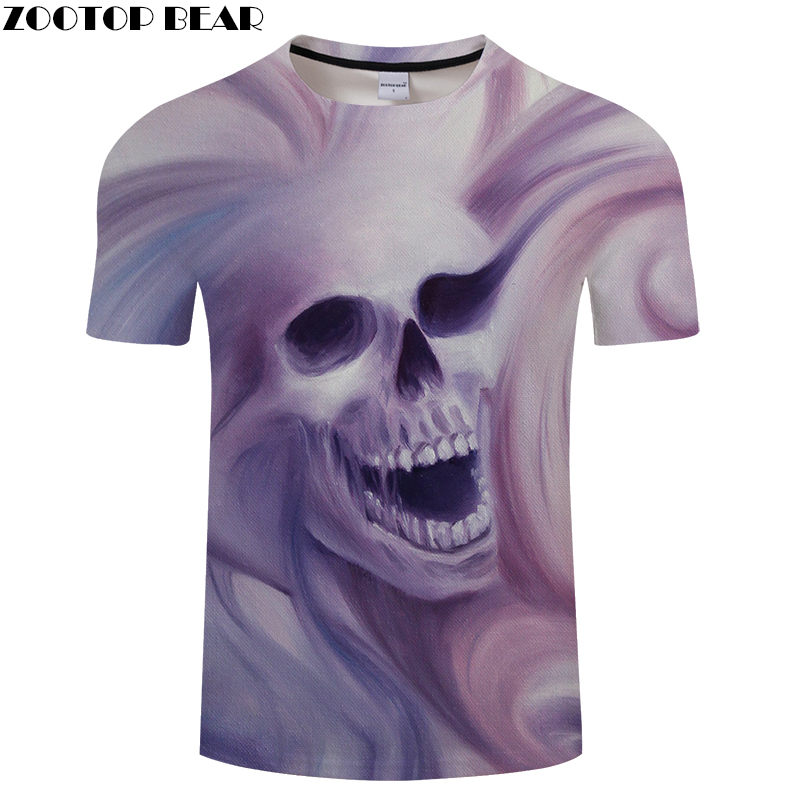 Paint Skull 3D Print t shirt Men Women tshirt Summer Funny Short Sleeve O-neck Tops&Tees Camisetas Loose Drop Ship ZOOTOP BEAR