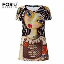 FORUDESIGNS 2017 New Woman Dress Summer Beach Dresses For Girls Hand Painting Women's Vestidos Sexy Robe Femme Feminine Clothes