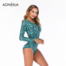 Aonihua One piece Swimsuit Swimming Suit For Women Front Zipper Flower Printed Surfing Swim Suits S-2XL