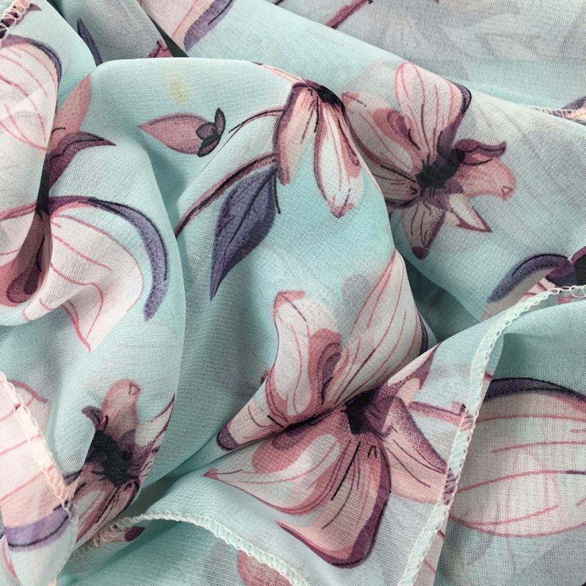 UK Women Floral Print Large Scarf Wrap Shawl Pashmina Scarves Soft Chiffon Stole