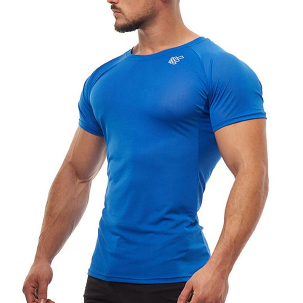 New Men's Smooth Slim Sport T-shirt Fitness Muscle Stretch Soft Tee Tops Clothes Breathable O-neck Solid Color Short Sleeve 3