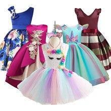 0b798f4e1e0e6 Bébé Filles Fleur Rayé Robe Pour Filles Licorne De Noce Robes Enfants  Princesse De Noël Robe Enfants Filles Vêtements