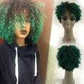Popular barato Verde Del Frente Del Cordón Peluca de Pelo Humano Remy Virginal Brasileño peluca Bob Corto Curt Rizo Ombre 1B/Verde del Frente Del Cordón Del Pelo peluca