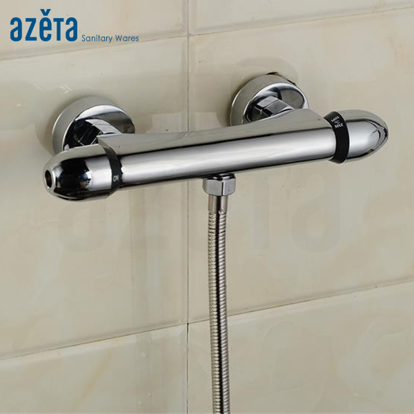 Bath Brass Chrome Round Two Handle Twin Thermostatic Shower Faucet Mixing Valve
