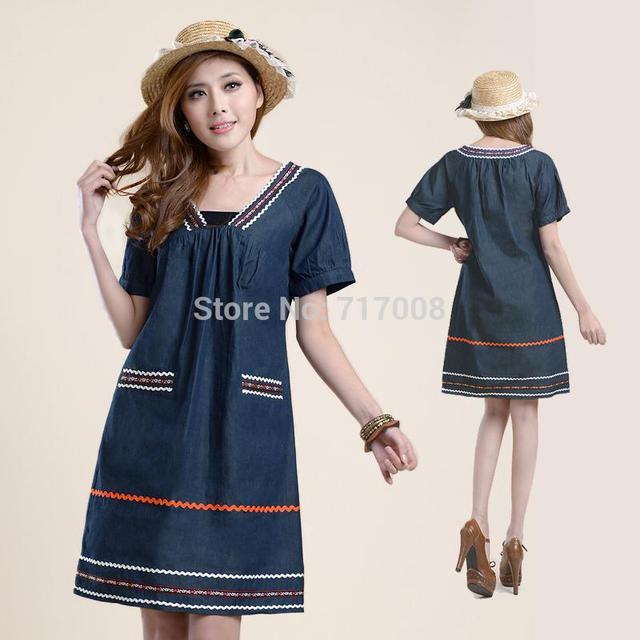 New Brand Denim Summer Dress 2014 Plus Size Casual Dress Vintage
