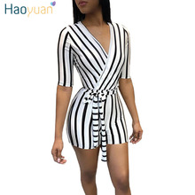 HAOYUAN Striped Sexy Playsuit Streetwear One Piece Shorts Bodysuit Casual Summer Overalls Slim Bodycon Rompers Womens