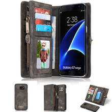 Luxury Flip Leather Case Cover For Samsung Galaxy S7 S7 edge S8 S8 Plus Card Slots Wallet Magnet Removable Phone Fundas Stands