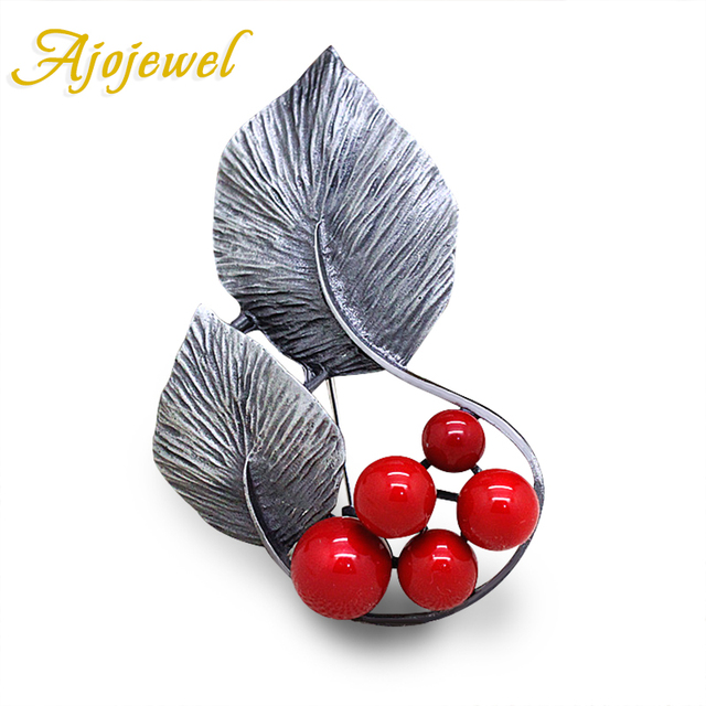 Ajojewel Antique Silver Color Leaf Designer Vintage Brooch Women Accessories 2016 Christmas Gift
