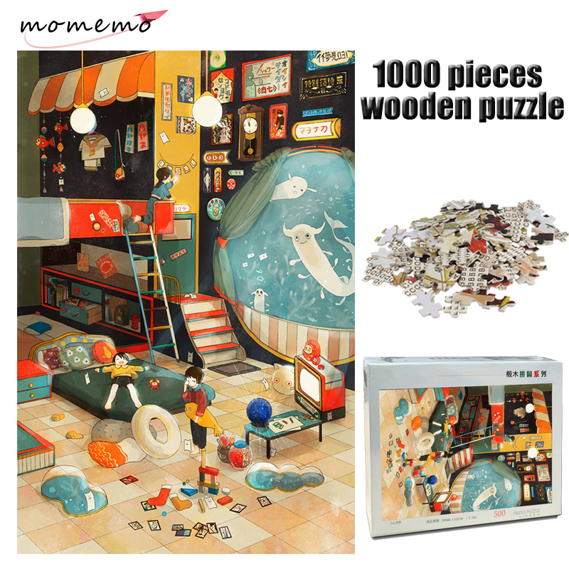 MOMEMO Cartoon Painting Jigsaw Puzzle 1000 Pieces Adult Wooden Puzzle Decompression Puzzles Game for Children Educational Toys
