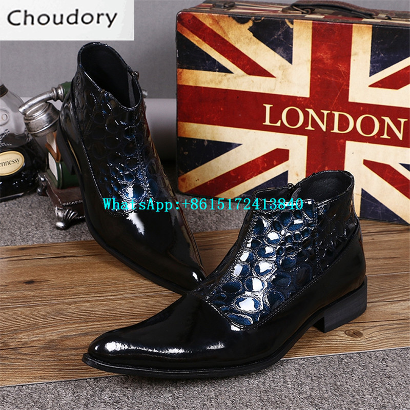 Choudory New Pointed Toe Chukka Ankle Boots Men High Heels Zipper Height Increasing Martin Boots Mixed Colors Leather Shoes Men
