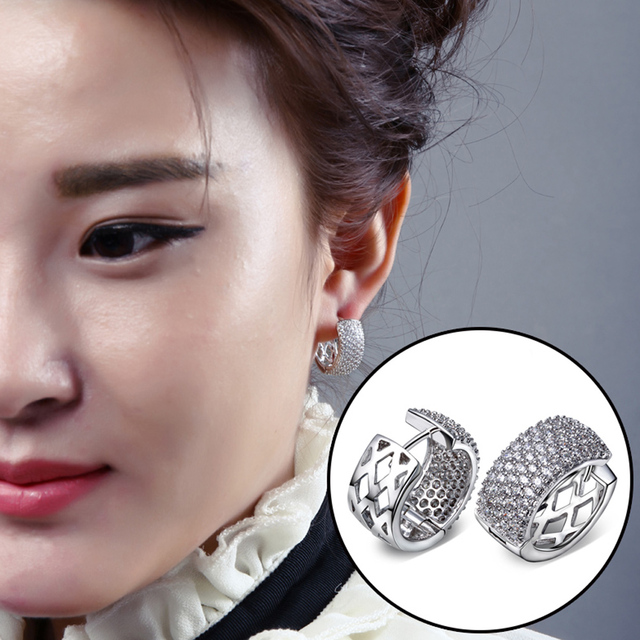 Sweet Look Fashion 20MM Hoop Earring Women White color Plated w/ High Quality AAA Cubic Zirconia Banquet Party Earring Jewerly