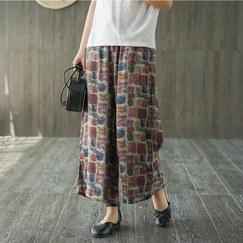 Women Cotton Linen Loose   Pants   Elastic Waist Pockets   Wide     Leg     Pants   Bohemian Beach   Pants