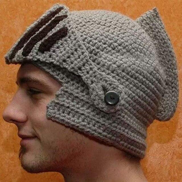 Funny Creative Viking Vikings Hand-Knitted Crochet Face Mask Rome Warrior  Knight Crochet Mustache Knitted Helmet Hat Hats Caps ad1fefa0c61