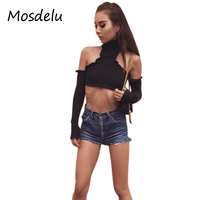 Mosdelu Sexy Long Sleeve White Off The Shoulder Tops For Women Short Shirts Casual Tops Autumn