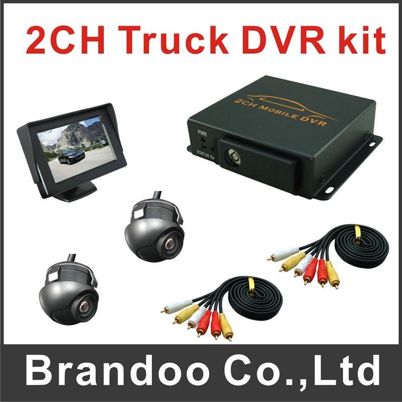 2 cameras truck DVR system, including 2 cameras and 1 pcs 4.3inch monitor, used on truck,bus,taxi sold by Brandoo