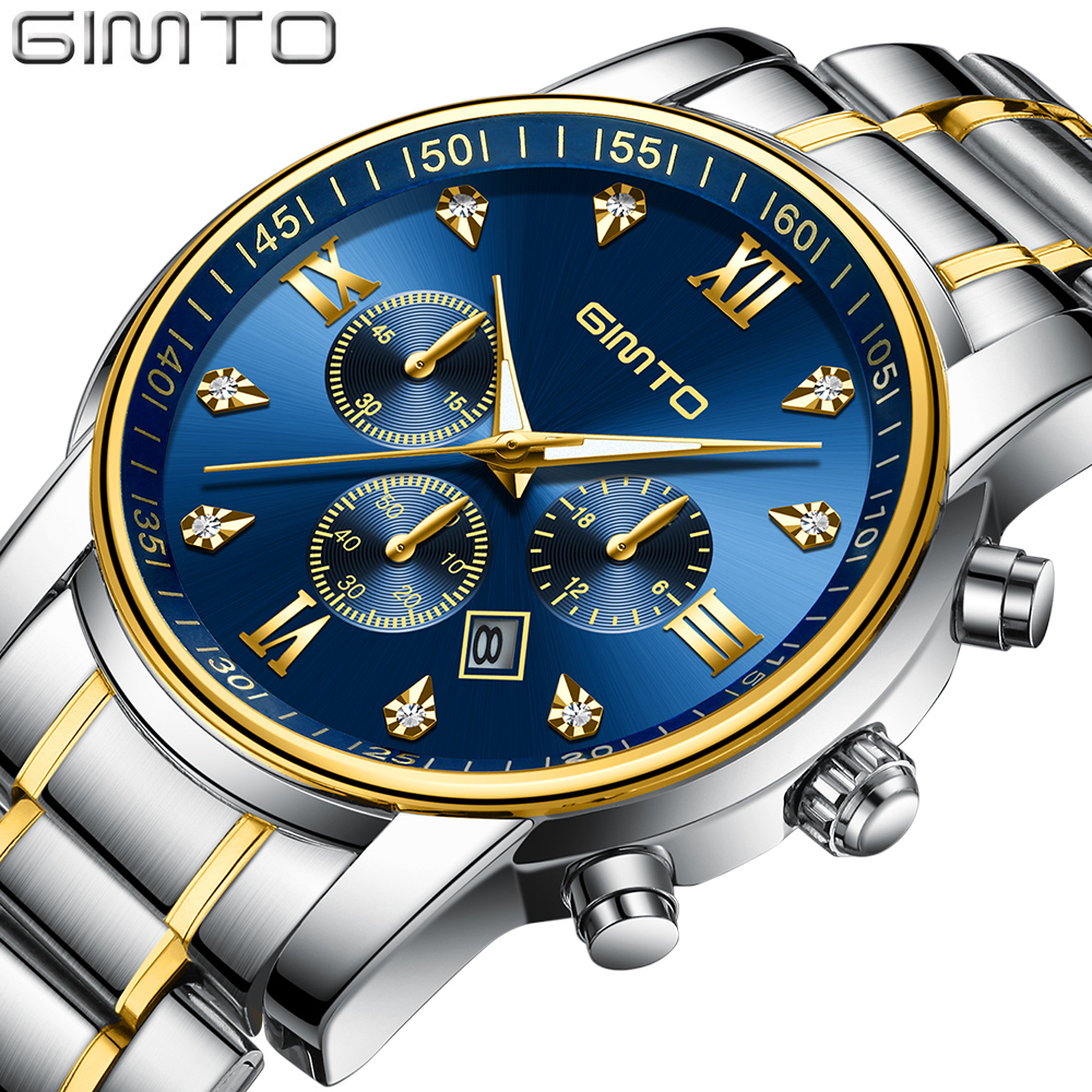 2018 Classic Gold Silver Men Watch Luxury Brand GIMTO Business Quartz Wristwatch Military Casual Male Watches Waterproof Clock цена 2017