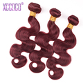 BurgundyBrazilian Body Wave 3Pcs Burgundy Brazilian Hair Weave Bundles Red Wine 99J Human Hair Brazilian Virgin Hair Ombre Hair