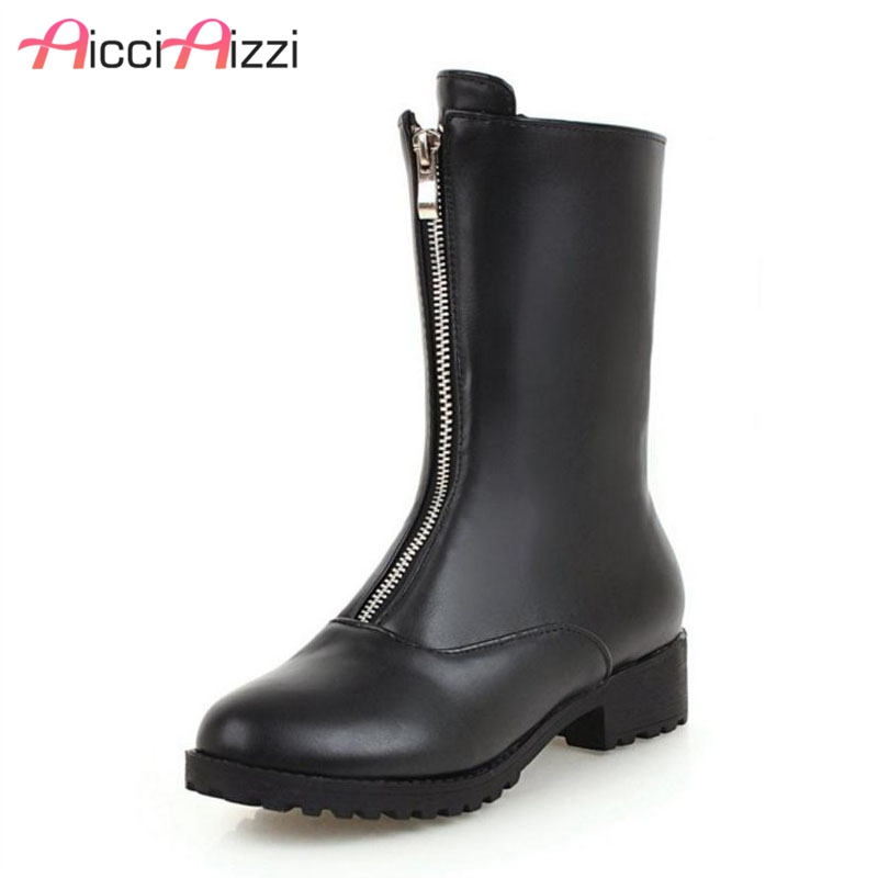 ZALAVOR Plus Size 34-45 Fashion Women High Heels Boots Zipper Warm Fur Mid Calf Boots Winter Daily Shoes Women Footwear