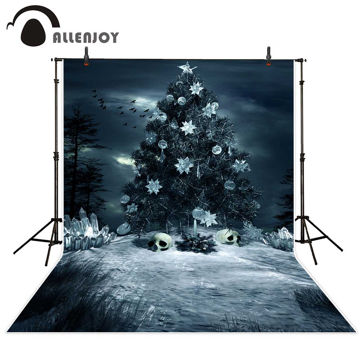 Allenjoy Halloween background Christmas tree skull ice grass Background for a photo photographic background vinyl backdrops
