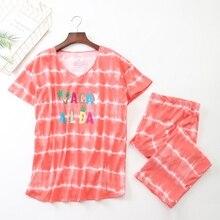 2019 Summer Women Pajamas Cotton Cute Striped Letter Pajama Set Top + Capris Elastic Waist Plus Size