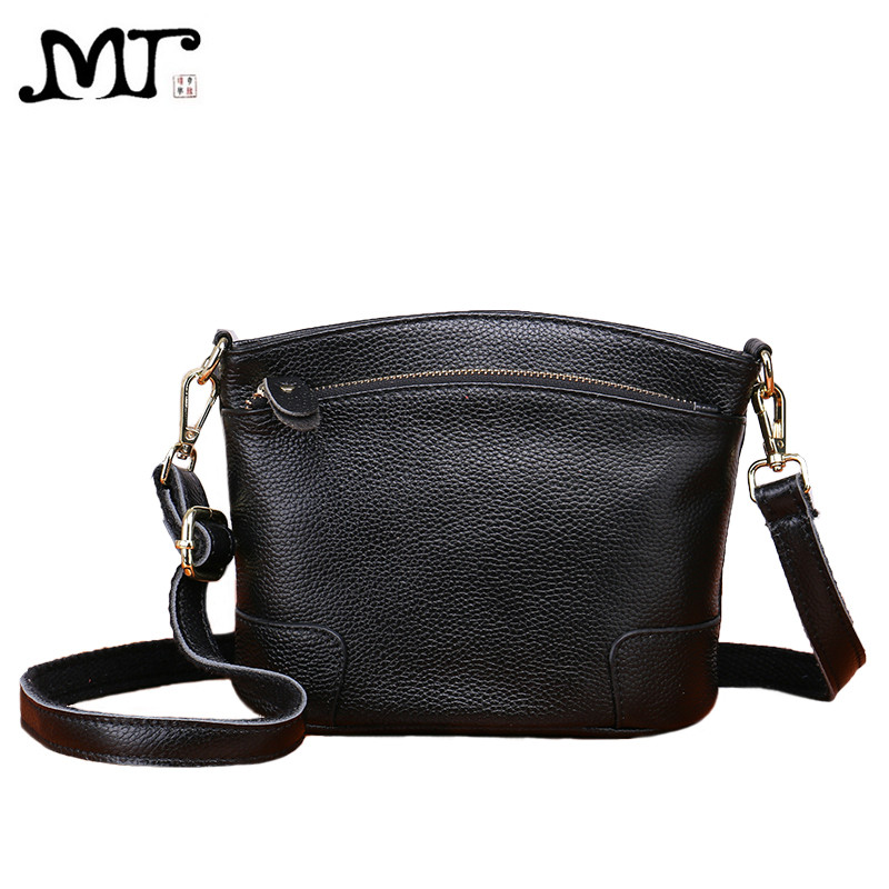 MJ Women's Genuine Leather Bag Female Solid Real Cow Leather Cross Body Shoulder Handbag Small Bucket Messenger Bag for Girls 2017 genuine leather women bucket messenger bag cow real leather shoulder bags for ladies handbag bolsa feminina small purse