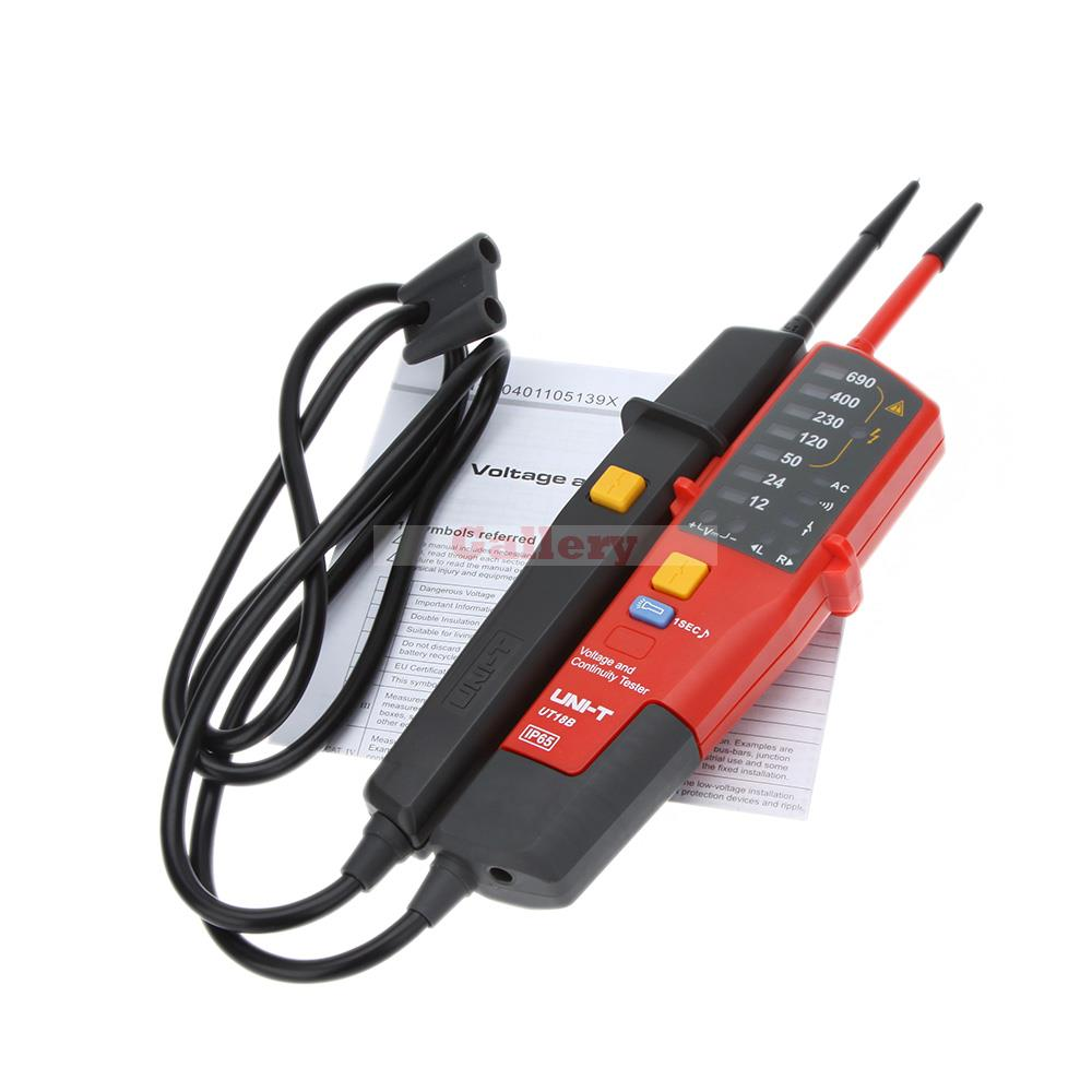 ФОТО Uni T Ut18b Auto Range Voltage Meter Continuity Test Tester with Rcd Led Indication And No Battery Detection Detector