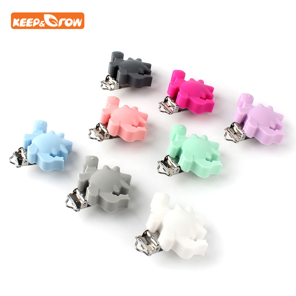 Keep&grow 1Pc Dinosaur Shaped Pacifier Clip Silicone Bead Baby Clip Teething Accessories Clip Clasps Toy DIY Pacifier Chain Tool