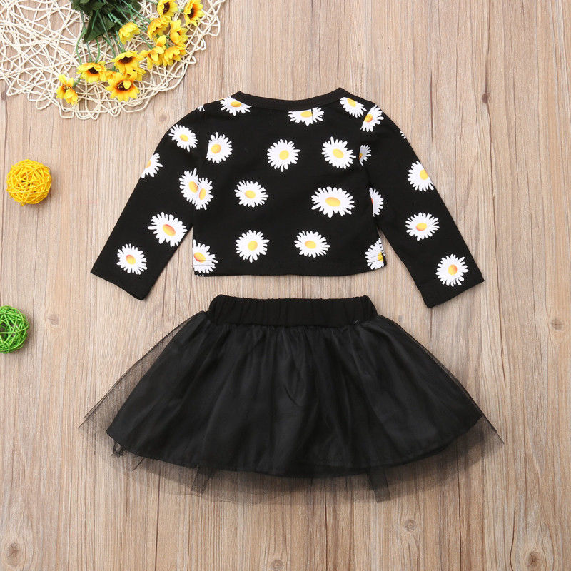 0 24M Flower Newborn Baby Girls Clothing Set Long Sleeve Floral Tops Tulle Tutu Skirt Outfits Baby Girl Costumes Autumn New in Clothing Sets from Mother Kids
