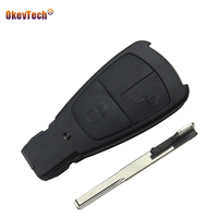 Okeytech для mercedes benz c e класса Smart Ключи В виде ракушки 2 кнопки дистанционного чехол replcement брелок Uncut пустой лезвие вставьте ключ