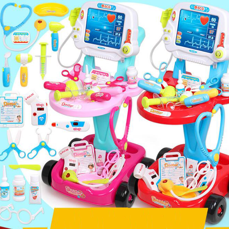 Children Electric Simulation Doctor Medical Play Toys Stethoscope Injection Medicine Set Trolley Toys For Baby