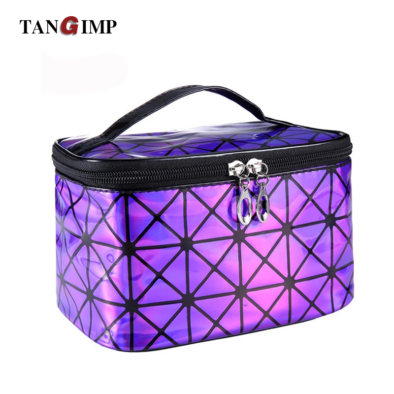 TANGIMP Hologram Women Cosmetic Bags Make Up Travel Toiletry Storage Box Geometric Wash Organizer Cases With Mirror Waterproof