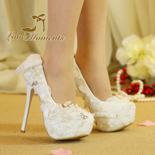 Love Moments shoes woman White lace wedding shoes handmade high heels  Women's high-heeled party shoes for women