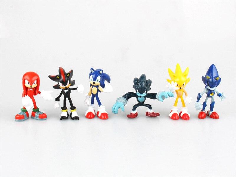 HKXZM Anime Figur 6 cm 6 teile/satz Sonic Schatten Tails Zeichen Tiere Spielzeug PVC Abbildung Weihnachts Geschenk Modell Spielzeug Sammlung