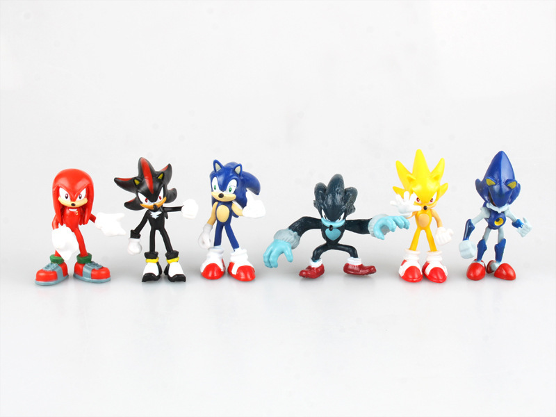 HKXZM Anime Figure 6CM 6pcs set Sonic Shadow Tails Characters Animals Toys PVC Figure Christmas Gift