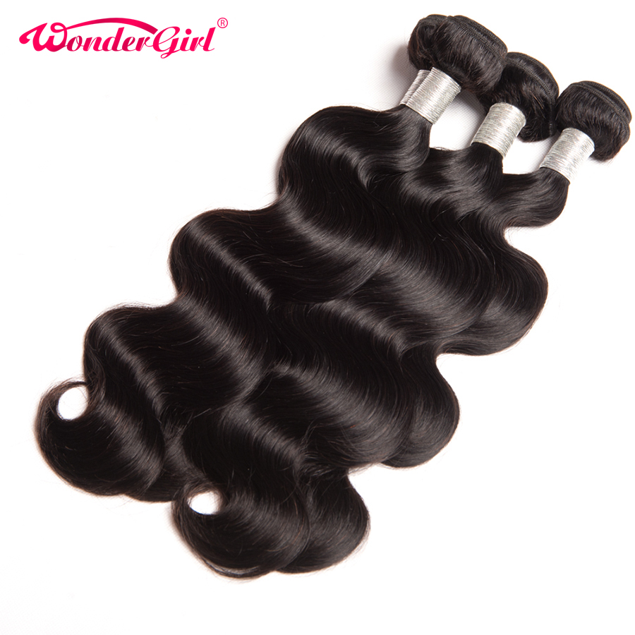 Wonder girl Peruvian Body Wave Hair Natural Color Remy Hair Bundles 100% Human Hair Weave Bundles 1PC Can Be Dyed