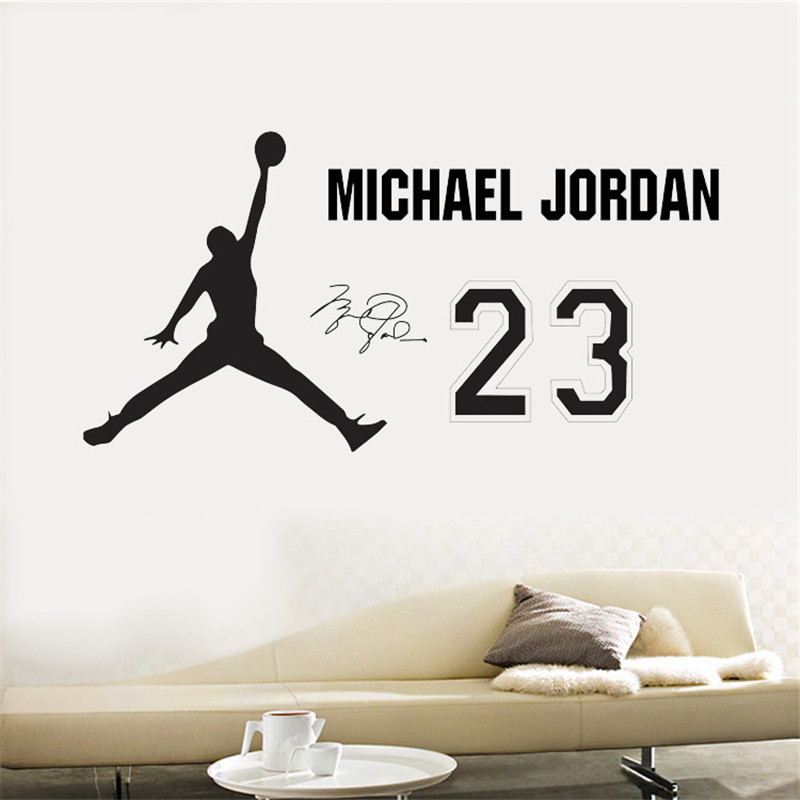 Michael Jordan wall stickers Boys Bedroom pegatinas de pared PVC wall decals stickers Basketball home decoration Poster