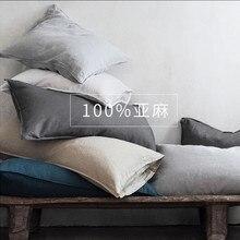 Льняной чехол для подушки с буквенным принтом Тип слоновая кость белый серый розовый натурального льна цвета наволочки для подушек 48x74 см 2 шт. на продажу