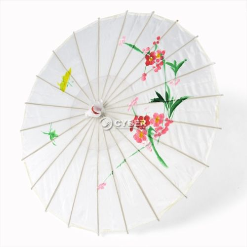 [ Fly Eagle ] Japanese Oriental Flower Print Bamboo Frame Party & Ornamental Umbrella - White