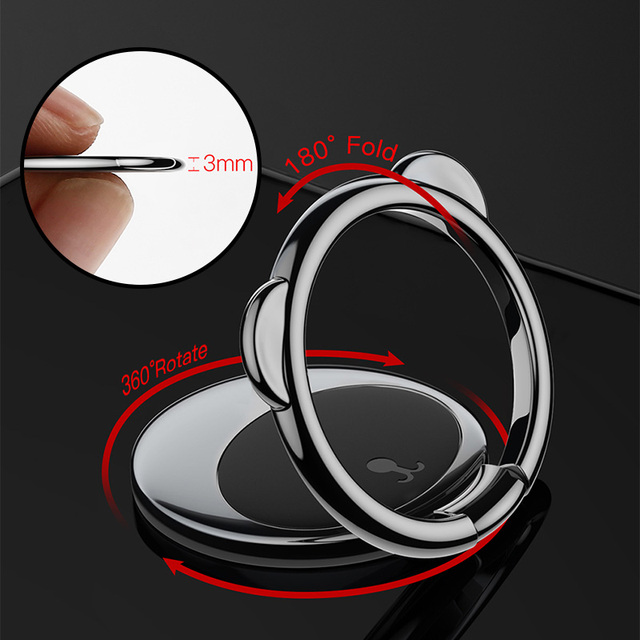 Baseus Metal Finger Ring Holder For iPhone Samsung Mobile Phone Ring 360 Degree Mount Holder Stand For Magnetic Car Phone Holder Mobile Phone Holders & Stands