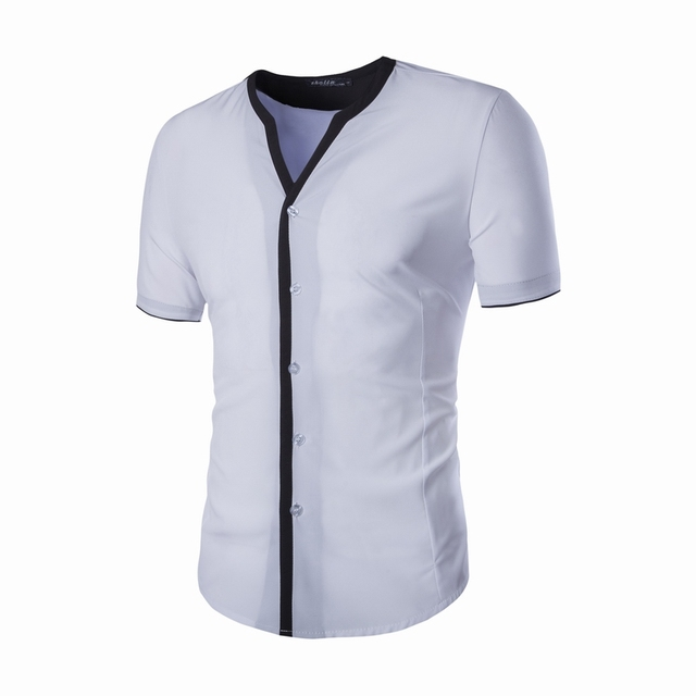 Mens Summer Shirts Fashion Brand Collarless Short Sleeve Slim Fit Clothing Men Single-Breasted Patchwork Dress Shirts 2 Colors