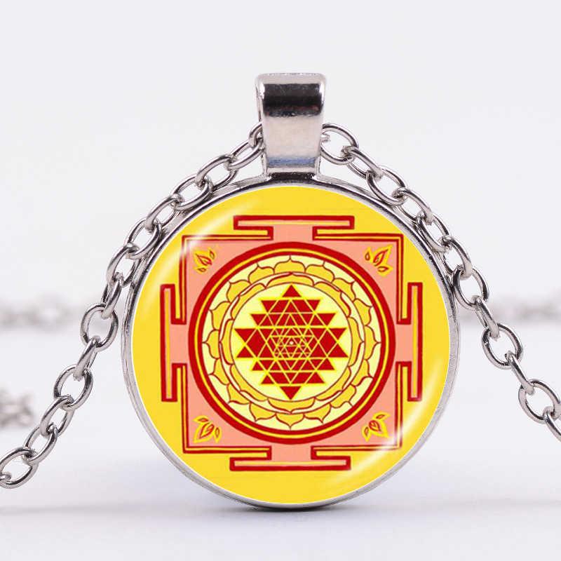 SONGDA スリランカ Yantra シンボルネックレス仏教神聖幾何学フラワー · オブ · ライフトーテムガラス宝石ペンダントネックレス瞑想精神的な