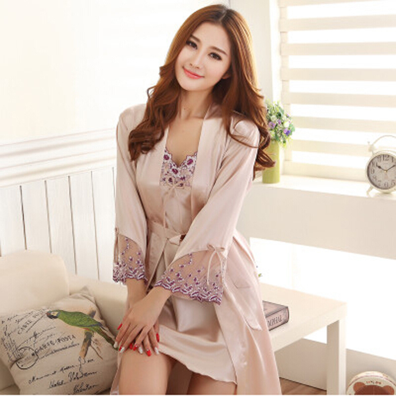 Luxurious Female Silk Bathrobe Women Spaghetti Strap Sexy Robe Twinset Nightgown Lace Sleepwear 2 Pieces Fashion