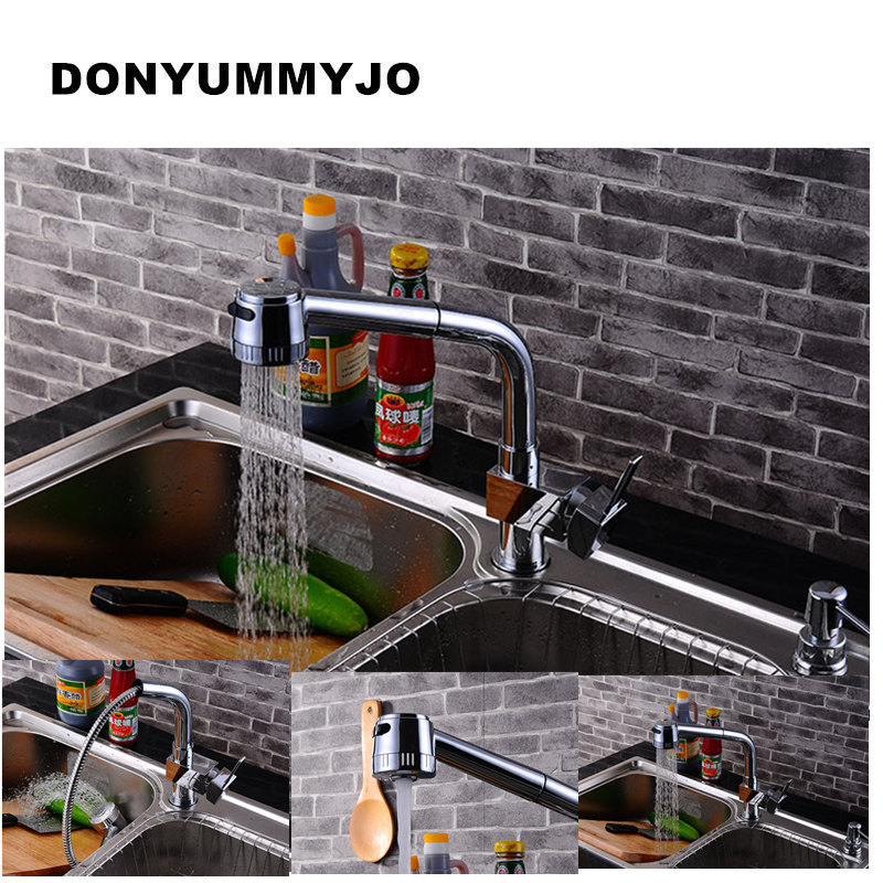 DONYUMMYJO Brass Sink Pull Out Kitchen Faucet Hot Cold Mixer Water Tap Deck Mounted Single Hole Single Handle Polished 8023 kitchen chrome plated brass faucet single handle pull out pull down sink mixer hot and cold tap modern design