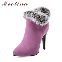 Sexy Women Boots High Heels Ankle Boots Shoes Women Pointed Toe Ladies Boots Snow Fur Zipper