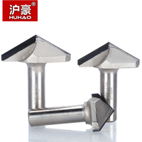 HUHAO 1pc 1/2 Shank Diamond CVD Coating V Type Router Bit For Wood Endmill Woodworking Cutter PCD Router Bit
