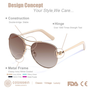 5dbf2892f COLOSSEIN Sunglasses Women Fashion Gold Frame Classic Female Unisex ...